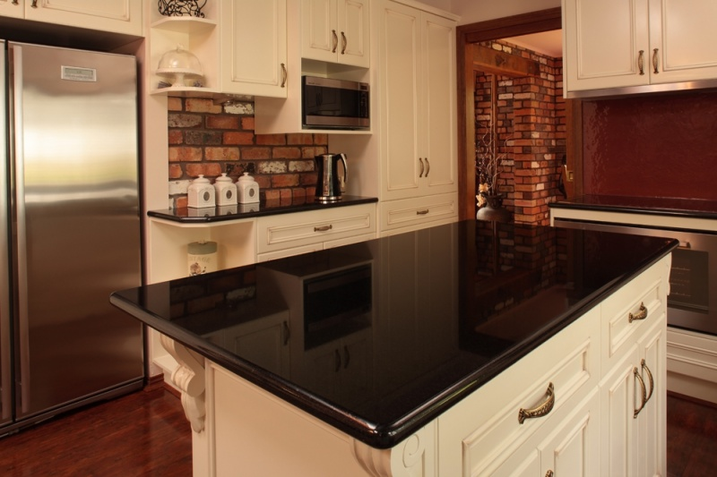 Absolute Black Granite Kitchen Bench Top. Private Residence.
